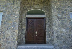 Craftsman Front Door with exterior stone floors, Transom window