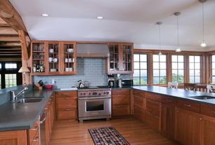 Craftsman Kitchen with Morning mist 3 in. x 6 in. glass wall tile, Glass panel, Breakfast bar, U-shaped kitchen, Galley