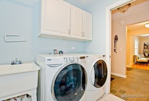 Modern Laundry Room with laundry sink, Farmhouse sink, terracotta tile floors, Standard height