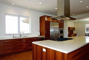 Contemporary Kitchen with Lg hausys hi-macs-solid surface countertop in ivory white