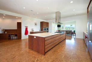 "Contemporary Kitchen with Decolav 15"" Quartz Stone Top, White, Evora Cork - Porto Tile Collection - Glue Down Floor Silva"