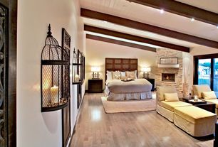 Contemporary Guest Bedroom with High ceiling, specialty door, Exposed beam, stone fireplace
