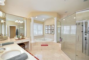Traditional Full Bathroom with Shower, Bathtub, Vinyl floors, flat door, drop in bathtub, partial backsplash, Double sink