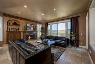 Eclectic Living Room with Crown molding, Concrete tile