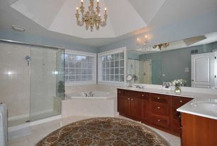 Traditional Master Bathroom with Chandelier, Master bathroom, Simple marble counters, Simple Marble, frameless showerdoor