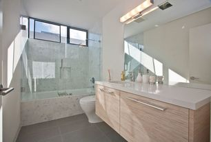 Contemporary Full Bathroom with Inset cabinets, shower bath combo, wall-mounted above mirror bathroom light, flat door, Paint