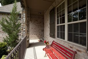 Rustic Porch with specialty window, Deck Railing, Wrap around porch, exterior stone floors