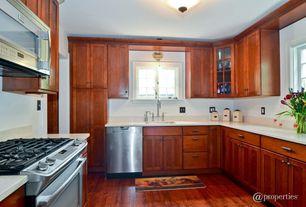 Traditional Kitchen with flush light, Ikea adel cabinet door medium brown, Ikea pragel countertop white stone effect, Flush