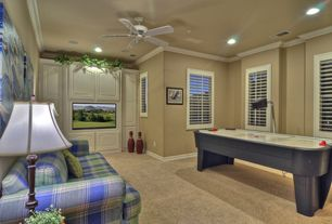 Country Game Room with specialty window, Standard height, Carpet, can lights, Ceiling fan, Built-in bookshelf