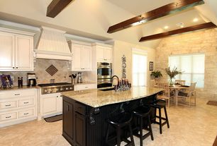 Traditional Kitchen with Breakfast bar, Crown molding, Simple granite counters, Undermount sink, Custom hood, Raised panel