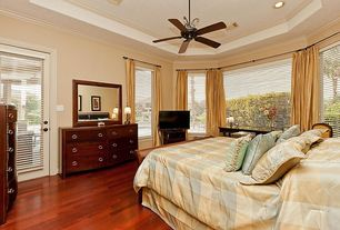 Traditional Guest Bedroom with Hardwood floors, Brazilian cherry hardwood floors, Ceiling fan, French doors, High ceiling