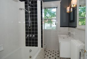 Modern Full Bathroom with painted walls, wall-mounted above mirror bathroom light, large ceramic tile floors, Undermount sink