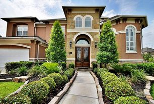 Traditional Front Door with Transom window, Pathway, Arched window, Glass panel door, exterior stone floors