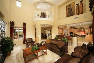Eclectic Living Room with flush light, Columns, Cathedral ceiling, Chandelier
