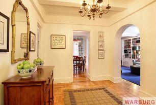 Eclectic Hallway with High ceiling, Hardwood floors, Chandelier