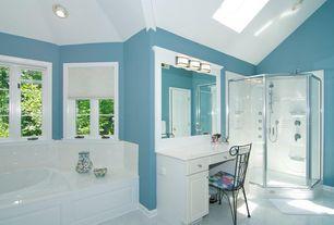 Modern Master Bathroom with Bathtub, framed showerdoor, Master bathroom, Built-in vanity, Standard height, drop in bathtub