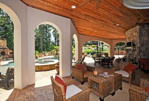 Rustic Porch with Outdoor kitchen, Screened porch, exterior stone floors