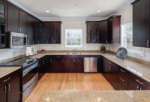 Modern Kitchen with Simple Granite, electric range, gas range, Standard height, partial backsplash, Undermount sink, Flush