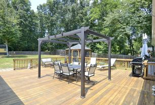 Traditional Deck with Fence, Metal pergola, Trellis, Wood railing, Gazebo, Wood decking, Outdoor kitchen