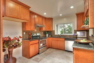 Traditional Kitchen with can lights, U-shaped, Concrete tile , Flat panel cabinets, Stone Tile, Wall Hood, gas range