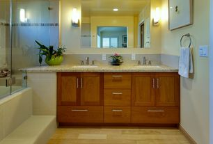 Contemporary Full Bathroom with Simple granite counters, Frameless, Undermount sink, Stone Tile, can lights, Inset cabinets