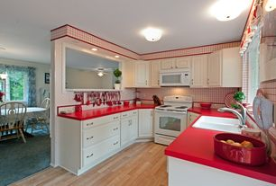 Cottage Kitchen with full backsplash, Large Ceramic Tile, Bamboo floors, drop-in sink, built-in microwave, can lights