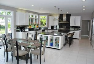 Modern Kitchen with Soapstone, Soapstone counters, European Cabinets, Transom window, Undermount sink, Pendant light, Flush
