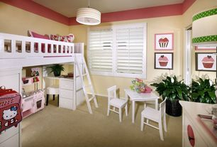 Contemporary Kids Bedroom with Bunk beds, Built-in bookshelf, Pottery barn kids madeline bunk system, Carpet, Pendant light