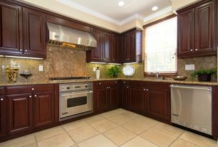 Traditional Kitchen with gas range, Simple granite counters, L-shaped, Wall Hood, stone tile floors, dishwasher, Paint 1