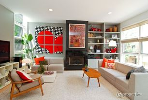 Eclectic Living Room with Carpet, Fireplace, double-hung window, Built-in bookshelf, Laminate floors, Standard height