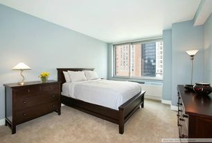 Modern Guest Bedroom with Casement, Paint 1, Standard height, Carpet, Furniture of America Hayes Panel Bed