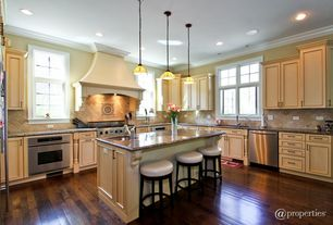 Traditional Kitchen with Crown molding, Transom window, Breakfast bar, Pendant light, L-shaped, Large Ceramic Tile