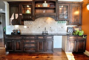 Traditional Bar with can lights, High ceiling, Wall sconce, Hardwood floors