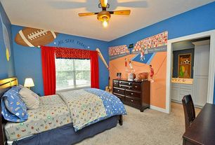 Modern Kids Bedroom with Del Prado Wooden 7-drawer Dresser, flush light, interior wallpaper, Ceiling fan, Carpet