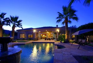 Tropical Swimming Pool with Outdoor kitchen, Fountain, exterior stone floors, Fence