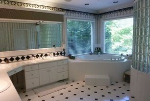 Traditional Master Bathroom with Master bathroom, Large Ceramic Tile, Double sink, Crown molding, Ceiling fan, Raised panel