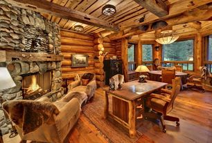 Rustic Great Room with Standard height, Exposed beam, Casement, Fireplace, specialty window, Carpet, flush light