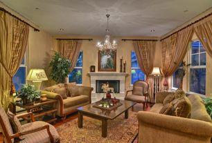Traditional Living Room with Hardwood floors, Chandelier