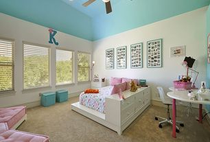 Contemporary Kids Bedroom with Contemporary storage ottoman with tray - sky blue, flush light, High ceiling, Ceiling fan