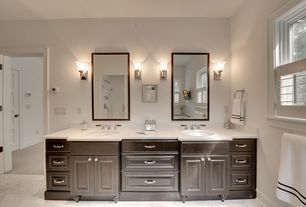 Traditional Master Bathroom with Wall sconce, Master bathroom, Casement, complex granite floors, Double sink, Raised panel