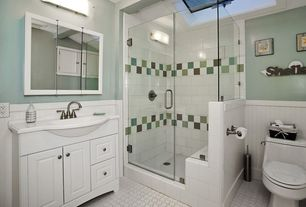 Cottage 3/4 Bathroom with Flush, Raised panel, frameless showerdoor, Corian counters, Skylight, Farmhouse sink, Wainscotting