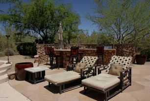 Rustic Patio with exterior stone floors, Fence
