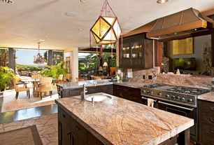 Eclectic Kitchen with Simple Granite, Glass panel door, Pendant light, MS International Cafe Forest Marble, Custom hood