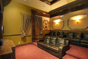 Traditional Home Theater with Chair rail, Wall sconce, Carpet, High ceiling, Arched window