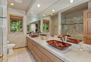 Modern 3/4 Bathroom with Vessel sink, Large Ceramic Tile, European Cabinets, Double sink, frameless showerdoor
