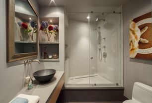 Modern 3/4 Bathroom with RYVYR GRVE170CBK Round Stone Vessel Sink, frameless showerdoor, Rain shower, can lights, Paint