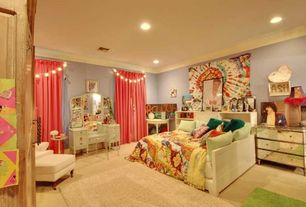 Eclectic Kids Bedroom with can lights, Carpet, Standard height