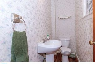 Country Powder Room with Pedestal sink, High ceiling, Powder room, specialty door, Hardwood floors, interior wallpaper