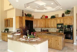 Traditional Kitchen with High ceiling, Concrete tile , Raised panel, U-shaped, Simple granite counters, Glass panel