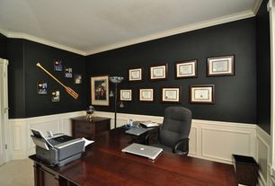 Traditional Home Office with Dark walls, Wainscotting, Painted wainscoting, Mural, French doors, Crown molding, Art desk